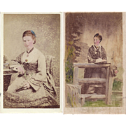 Carte de Visite Photographs, Ladies in Victorian Dress, Tinted