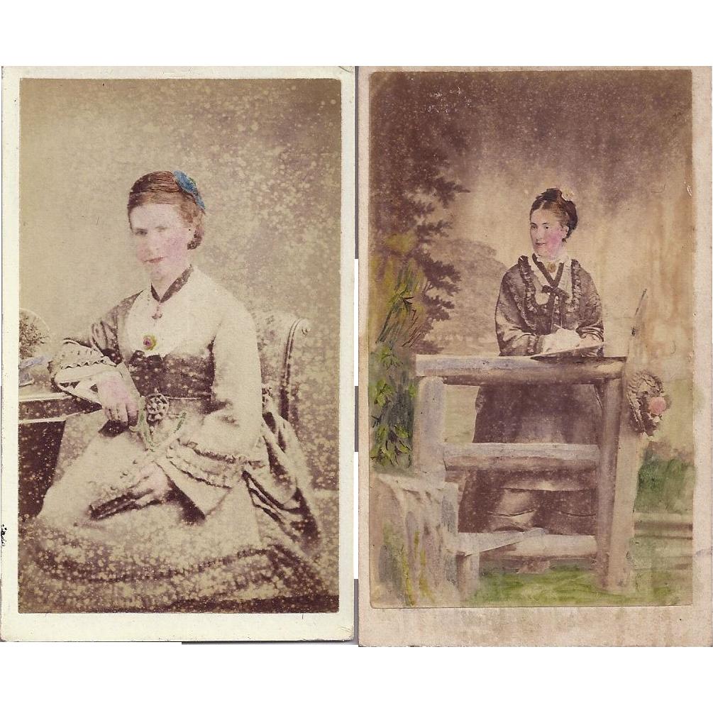 Carte de Visite Photographs, Ladies in Victorian Dress, Tinted