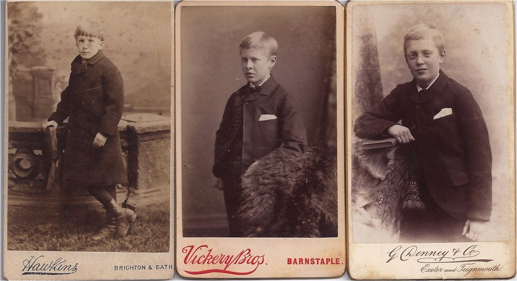 Group of Three Carte de Visite Photographs Boys (Young Men)