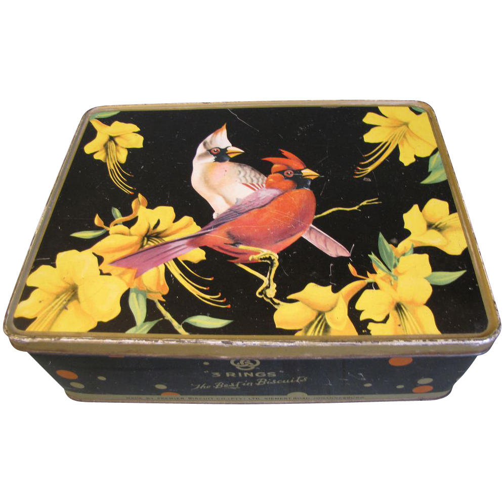 Vintage Cookie Tin, Lovely Image of Cardinals and Lilies