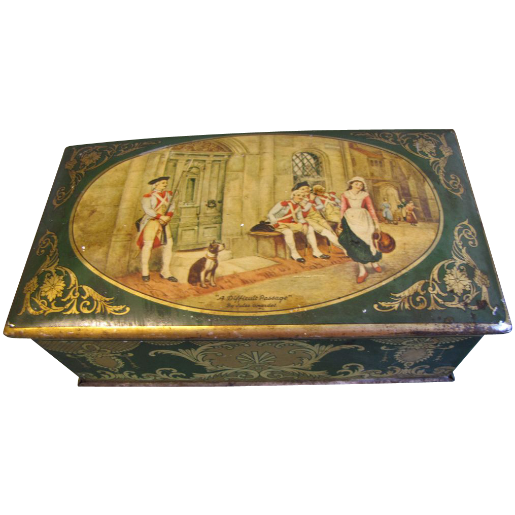 "1930 British Biscuit Tin, Huntley & Palmers, ""A Difficult Passage"""