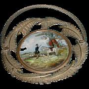 Wonderful French Brass Basket w/ Reverse Painting Hunt Scene