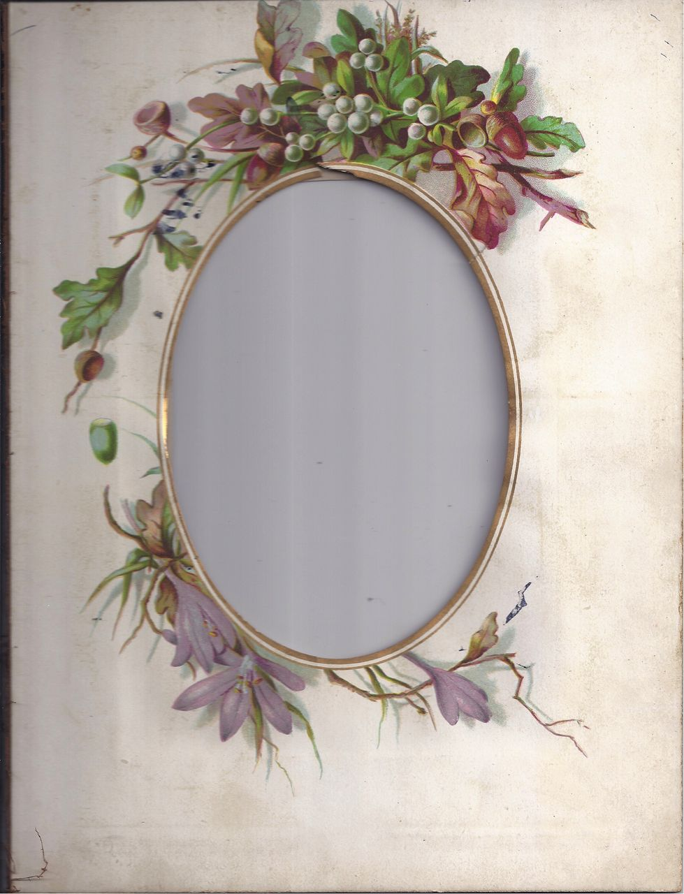 Lovely Floral Chromolithograph Page from Victorian Photo Album