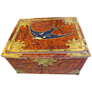 Early Large Blue Bird Toffee Tin, Faux Wood & Brass