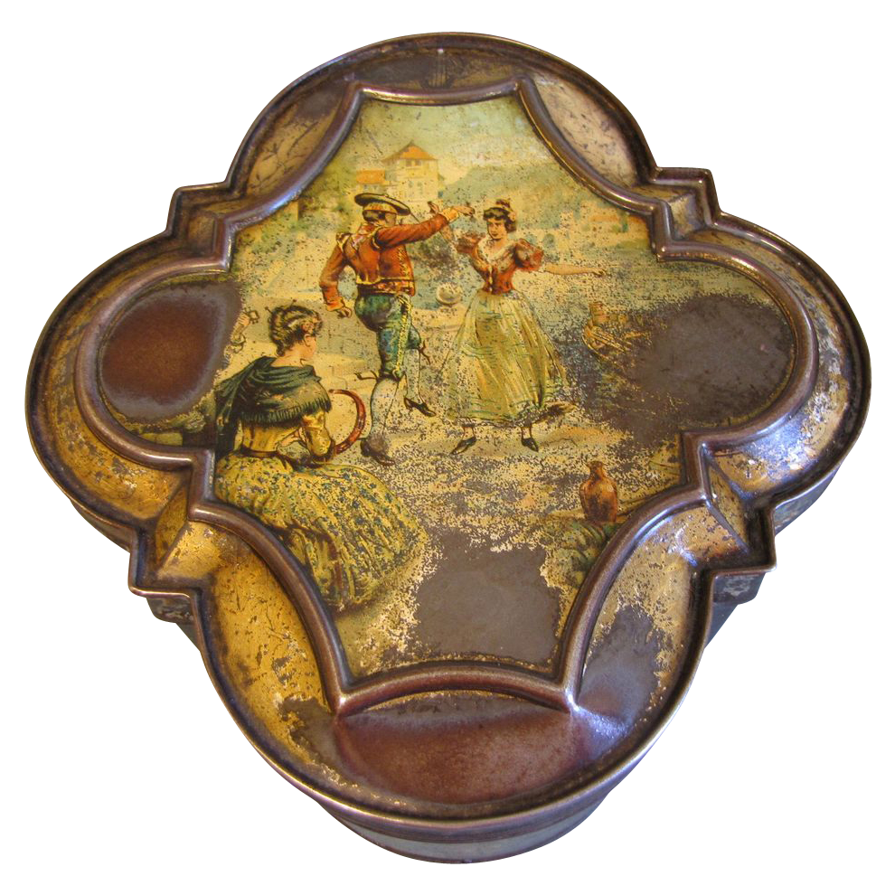 """RARE 1894 British Biscuit Tin, Huntley & Palmers, """"HARMONY"""" or """"MEXICAN"""""""