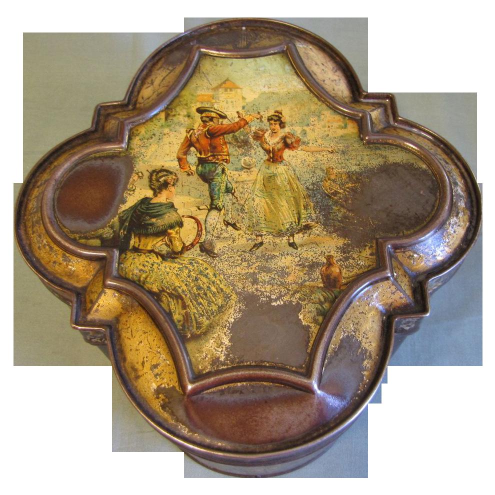 "RARE 1894 British Biscuit Tin, Huntley & Palmers, ""HARMONY"""
