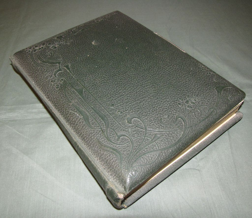 Victorian Photograph Album, Leather Cover, 5 Chromolithograph Pages