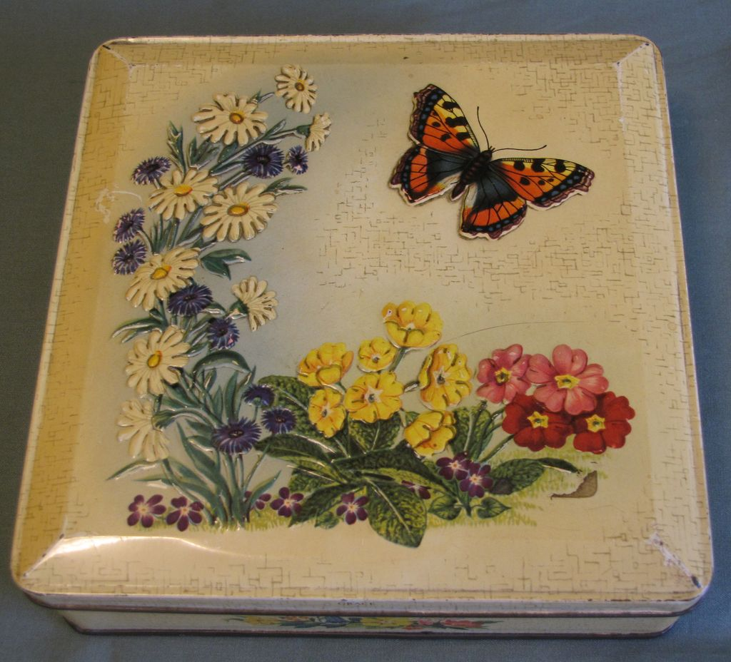 Vintage Huntley & Palmers Biscuit Tin, Yellow, Spring Flowers and Butterfly