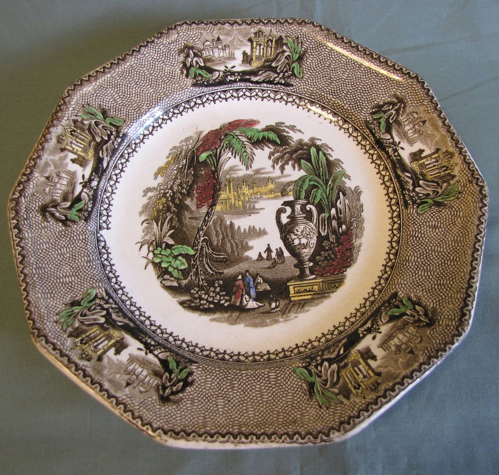 Lovely Brown Transferware Plate, AILANTHUS, C &W.H. Harvey