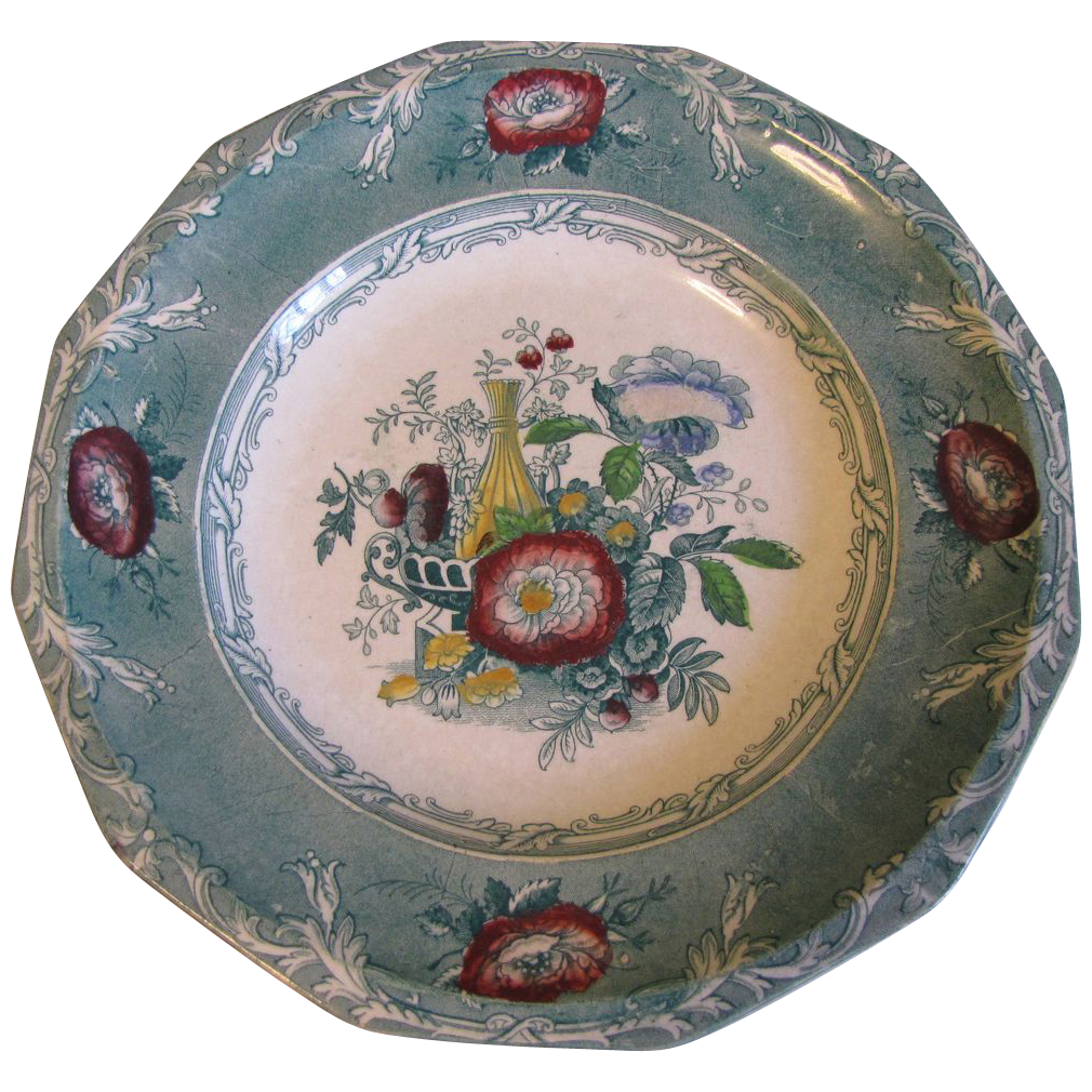 Lovely Green Transferware Plate Excelsior, George Wooliscroft