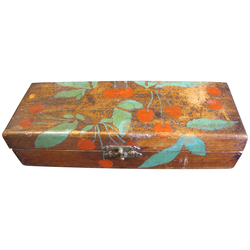 Vintage Flemish Art (Pyrography) Glove Box, Cherries, Painted