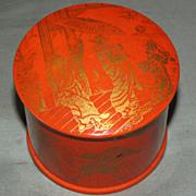 Vintage Orange Paper Mache Powder Box, Oriental