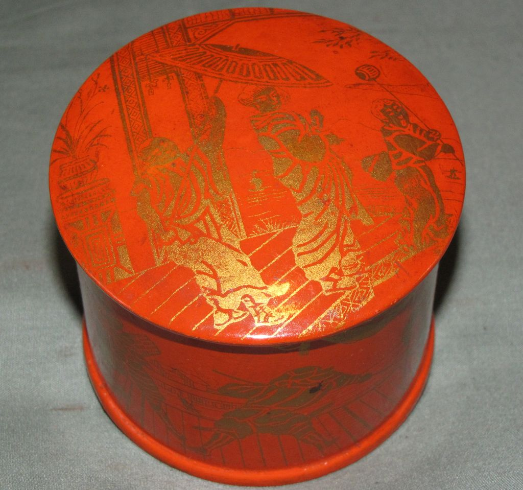 Vintage Orange Paper Mache Powder Box, Oriental