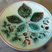 Lovely Turquoise Majolica Plate, Blackberries