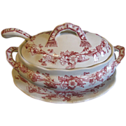 Lovely Red Transferware Sauce Tureen Set, CHARM, Furnivals