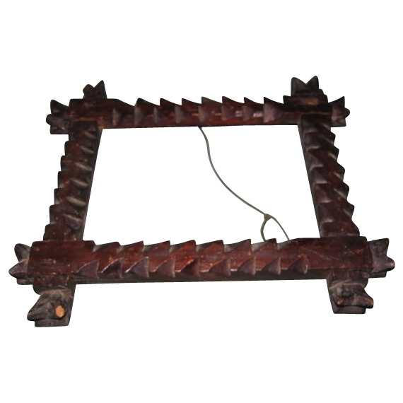 Early Primitive Tramp Art Picture Frame