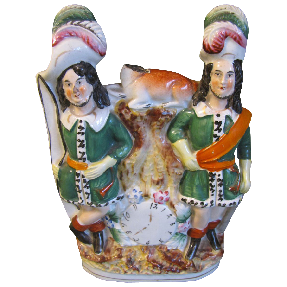 Early Double Staffordshire Figure, Bow Hunters, Clock Face