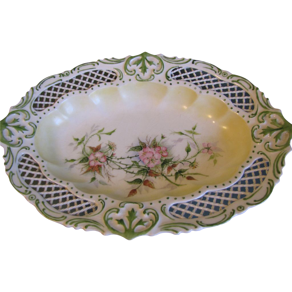 Lovely Hand-Painted Porcelain Bowl, Lattice Work Rim (2 available)