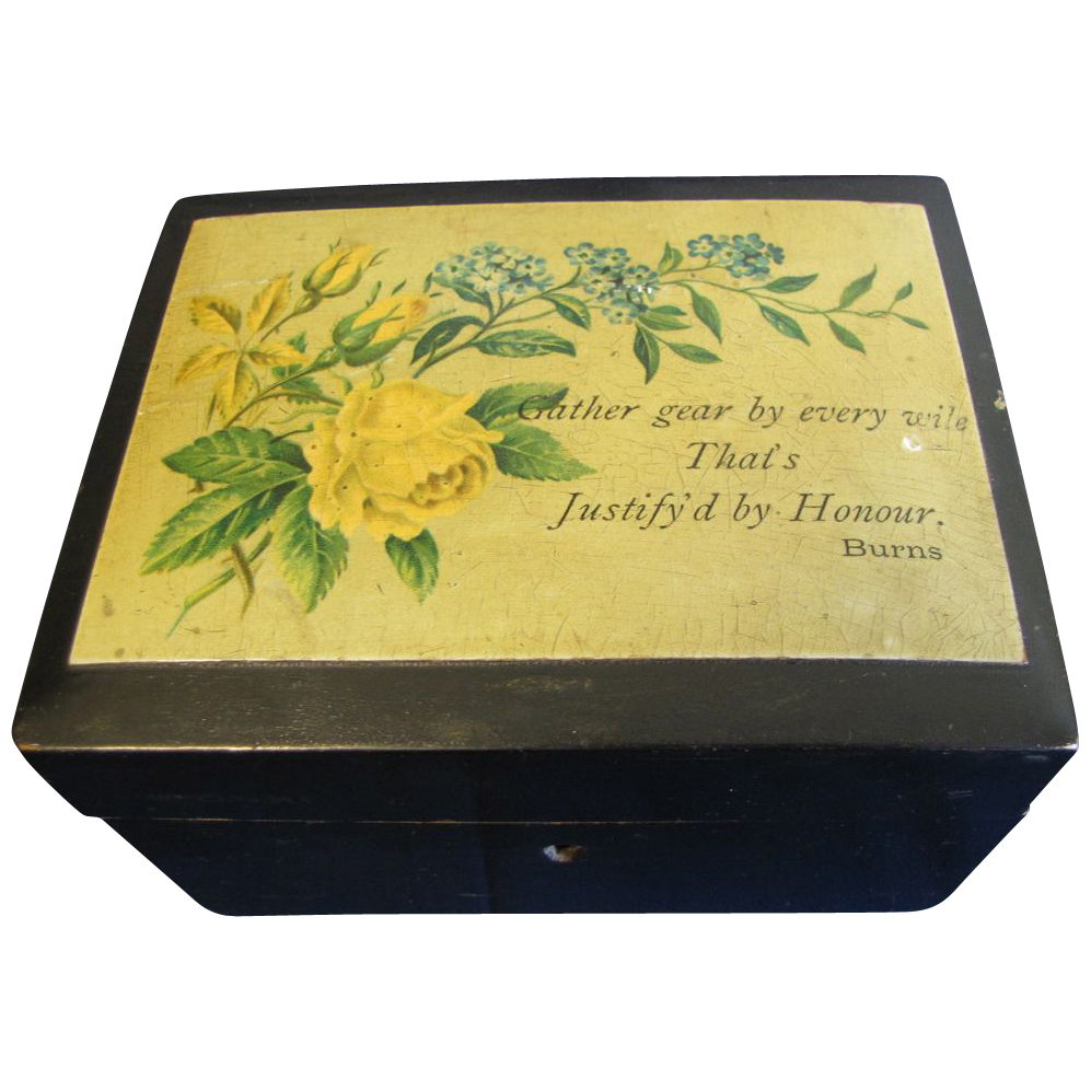 Lovely Victorian Black Trinket Box, Roses and Poetry (Burns)