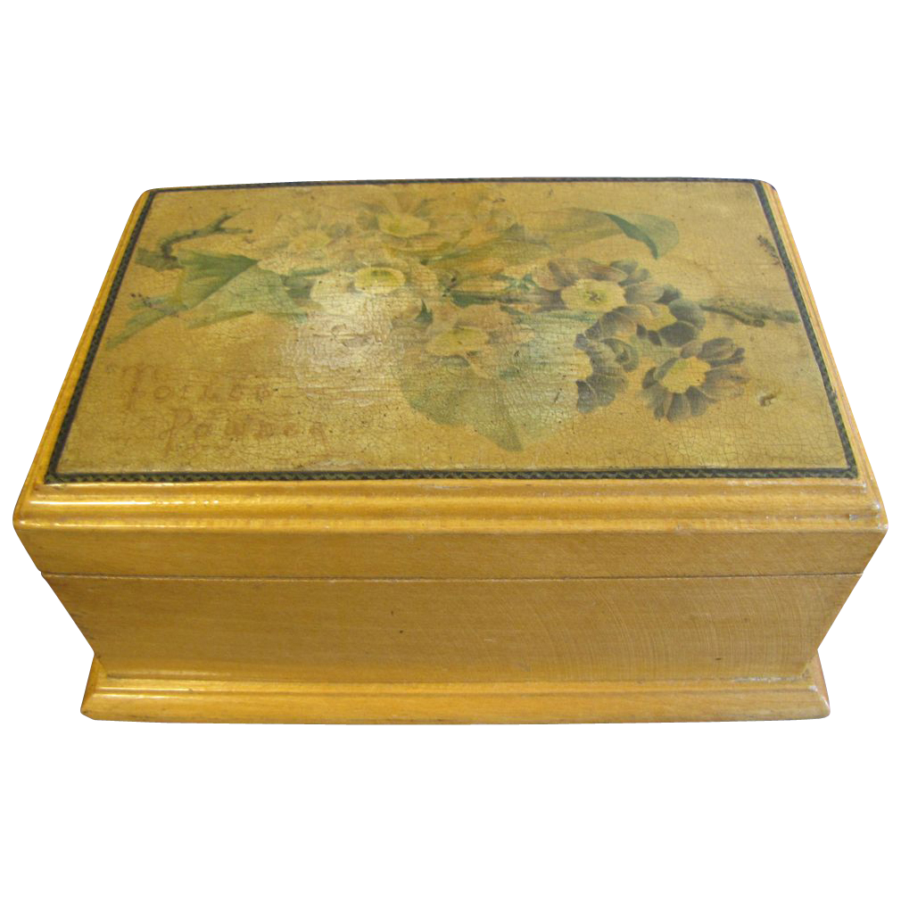 Lovely Small Wood Powder Box, Victorian