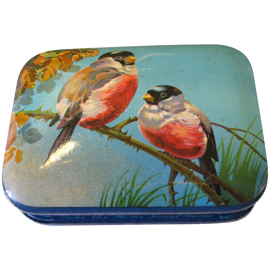 Vintage Blue Bird Toffee Tin, Lovely Blue w/Birds