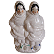 Early Staffordshire Group Figure, Two Fisherwomen with Basket of Fish