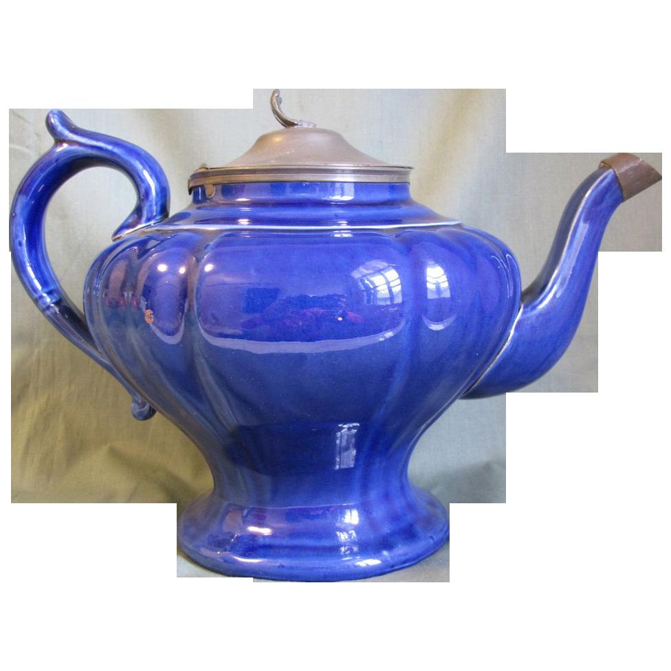 Lovely Vintage Cobalt Blue Teapot, Pewter Lid, England