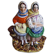 Full Color Staffordshire Group Figure, Fisherwomen