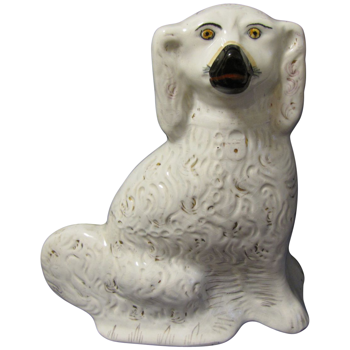 Large Single White Staffordshire Dog (Spaniel) 19th Century
