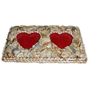 Vintage Shell Covered Double Heart Photograph Frame