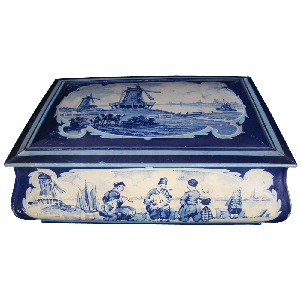 Large Biscuit Tin Chest, Delft Blue Design, Holland