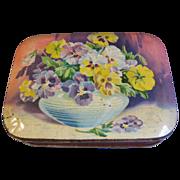 Vintage Blue Bird Toffee Tin, Lovely Bowl of PANSIES