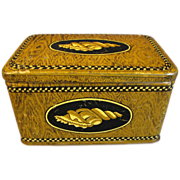 Vintage Faux Wood-Grain Biscuit Tin, Unidentified