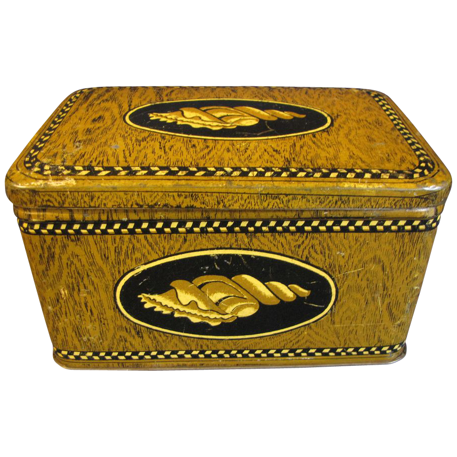Vintage Faux Wood-Grain Biscuit Tin, Unidentified