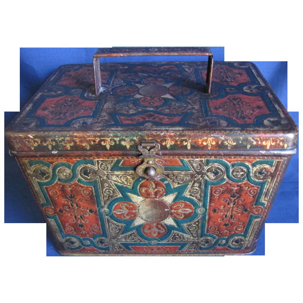 Antique British Biscuit Tin, 1899, VIENNESE, Huntley & Palmers