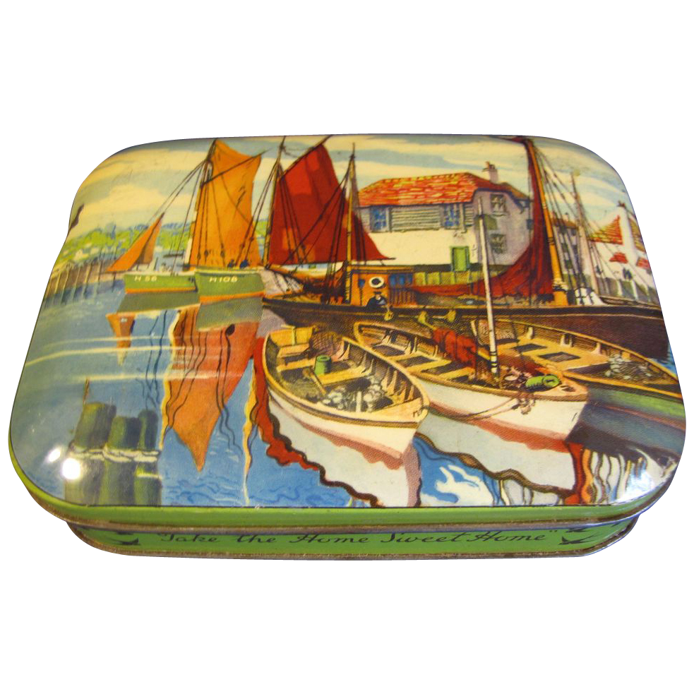 Vintage Harbor Scene, Blue Bird Toffee Tin, England