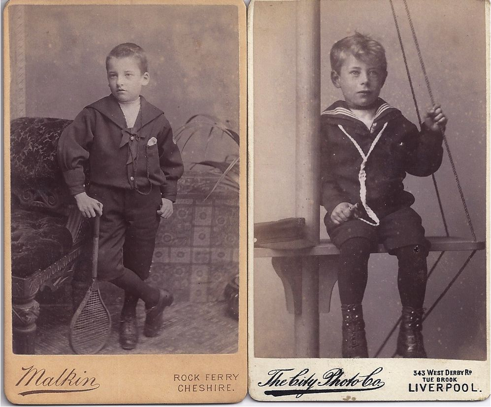 Pair of Carte-De-Visite Photographs, Young Boys in Sailor Suits