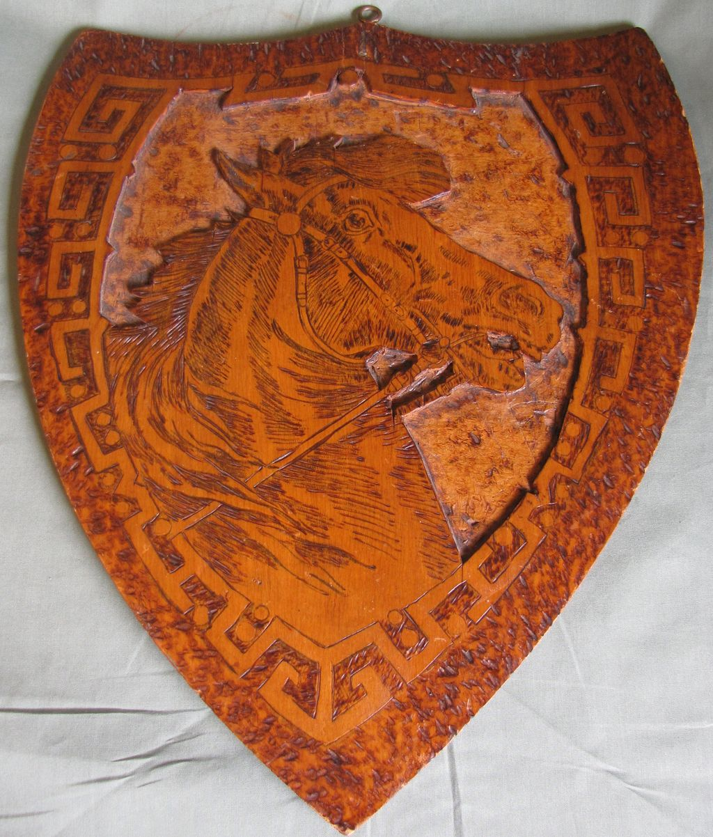 Large Shield Shaped Flemish Art Plaque, Horse, Pyrography