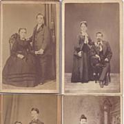 Group of Four Carte De Visite Photographs, Couples
