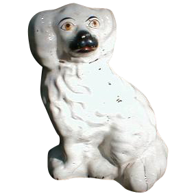 19.C White Staffordshire Dog (Spaniel), Painted Eyes