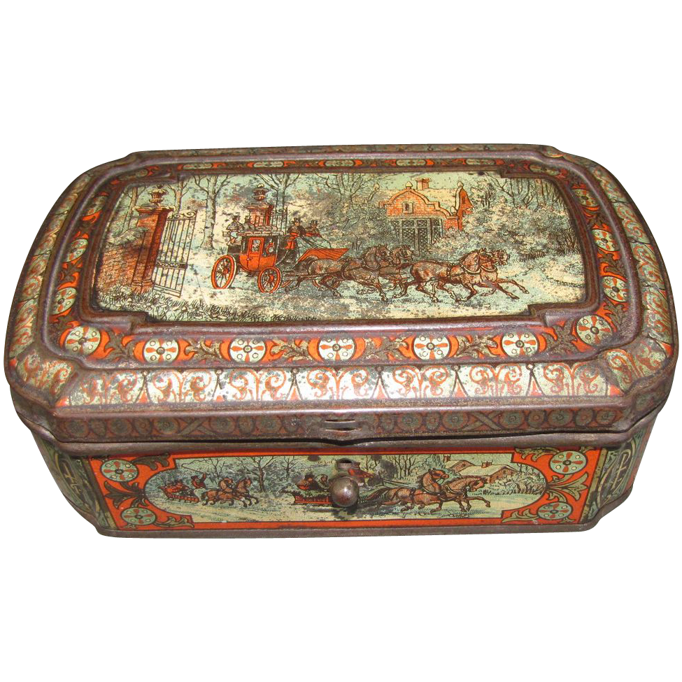 Circa 1888 Huntley & Palmers Biscuit Tin FOUR IN HAND