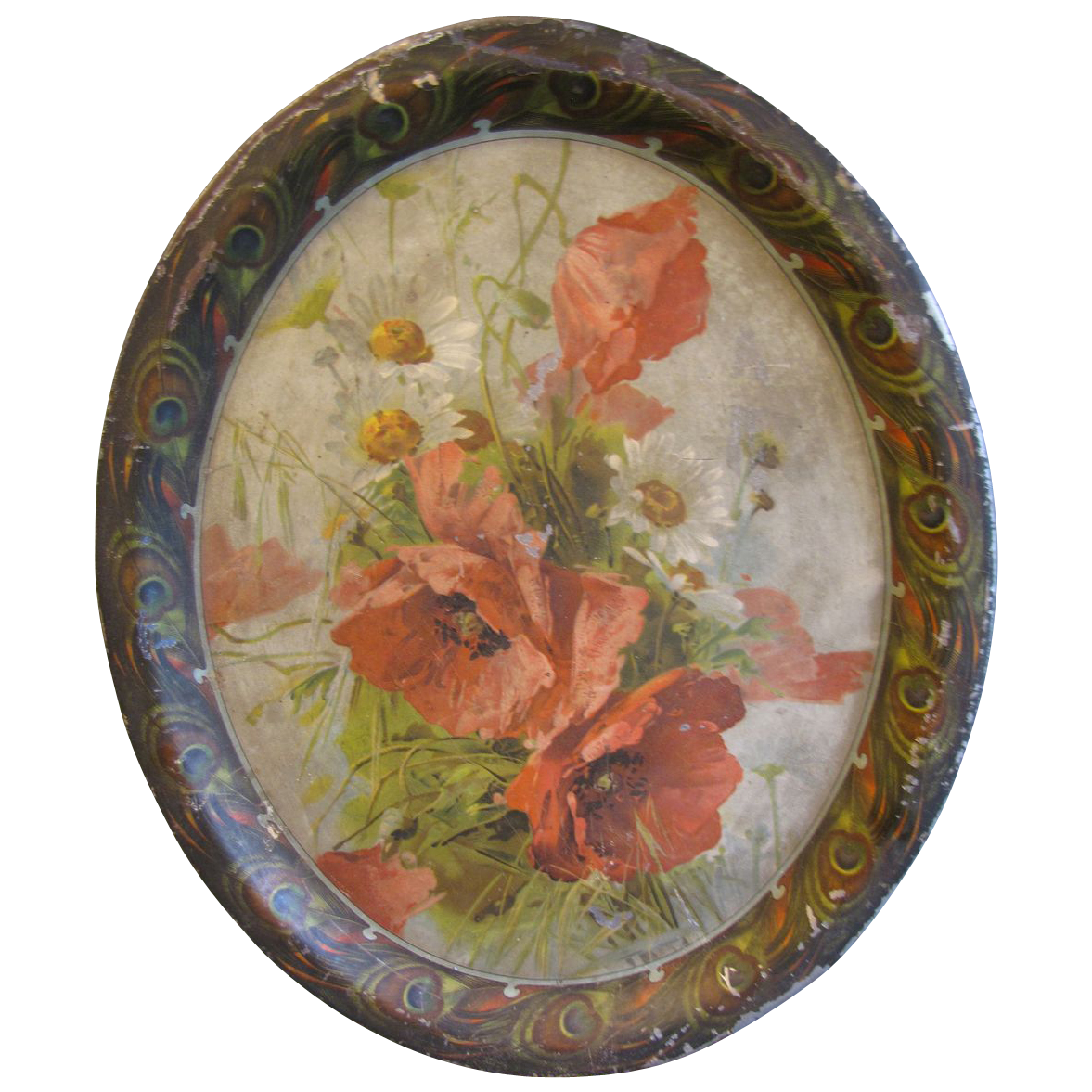 Vintage Lithograph Serving Tray, Poppies and Feathers