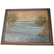 Lovely Framed Texas Bluebonnet Print, Julian Onderdonk