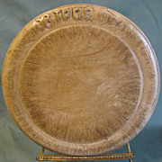 Beautiful Antique Wood Round Carved Bread Board