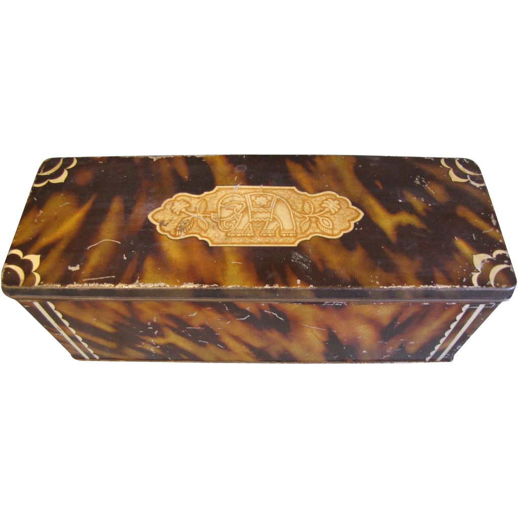 C. 1930 CWS Biscuit Tin Faux Tortoiseshell and Faux Ivory Sample