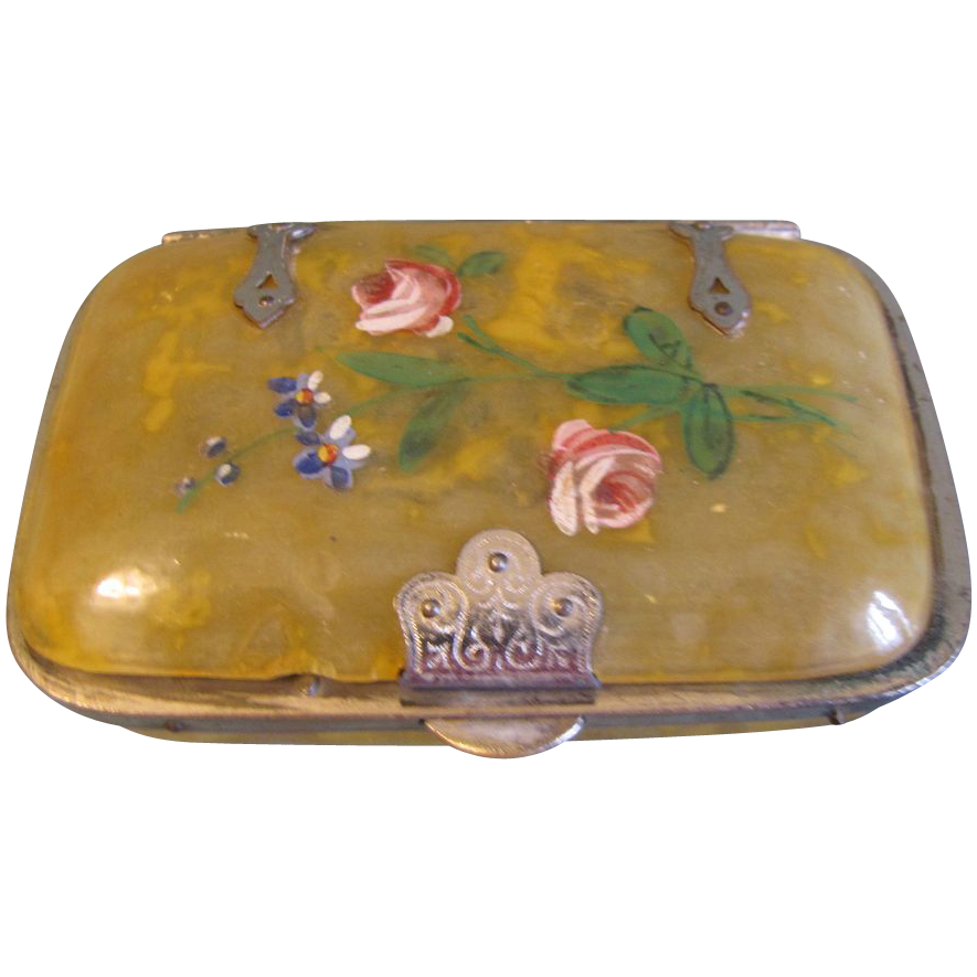 Lovely Victorian Bone Box, Painted Decoration