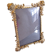 Lovely Antique Stamped Brass Photograph Frame, Convex Glass