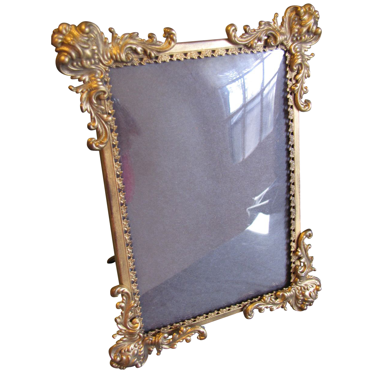 lovely antique sted brass photograph frame convex