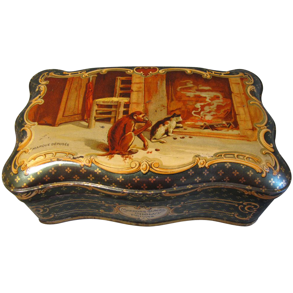 Circa 1910 French Sweet Tin, Marrons Glaces Cholvy Privas
