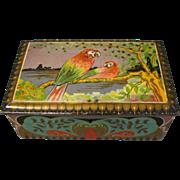 Lovely Art Deco De Erveh De Jong Cocoa Tin Parrots, Circa 1920
